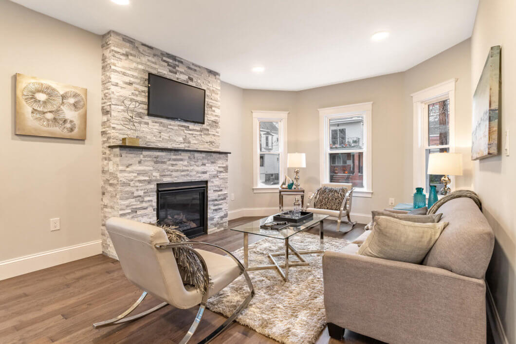 Living Room with Mantled Gas Fireplace