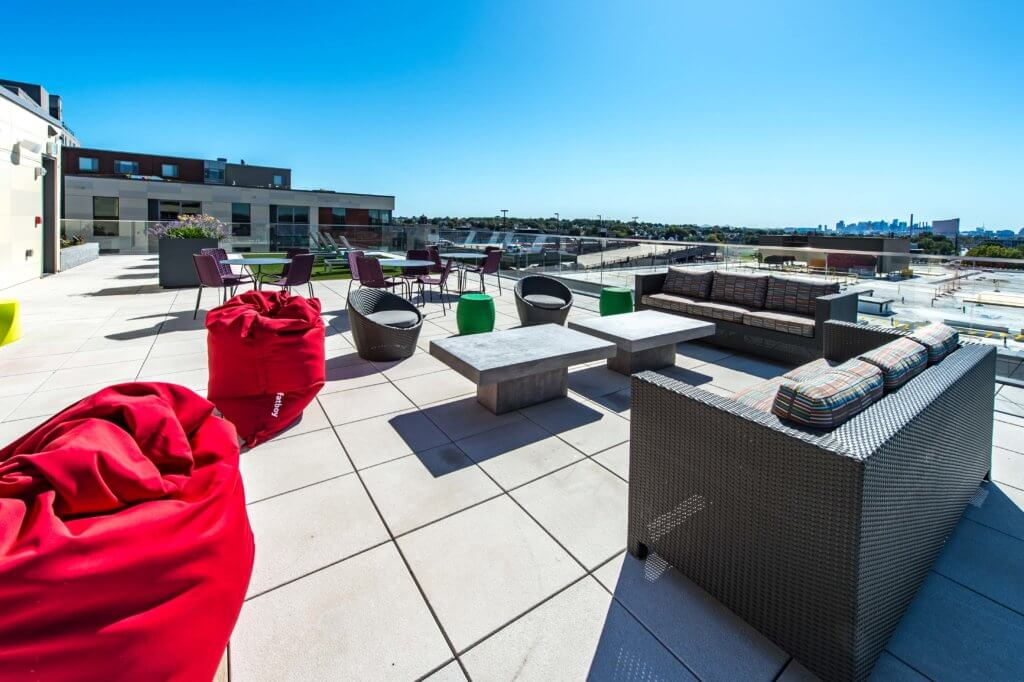 Roof Deck, Bean Bags, Boston Skyline, Encore Casino, J malden Center, Social Space, Endless Views, Roof, Malden MA