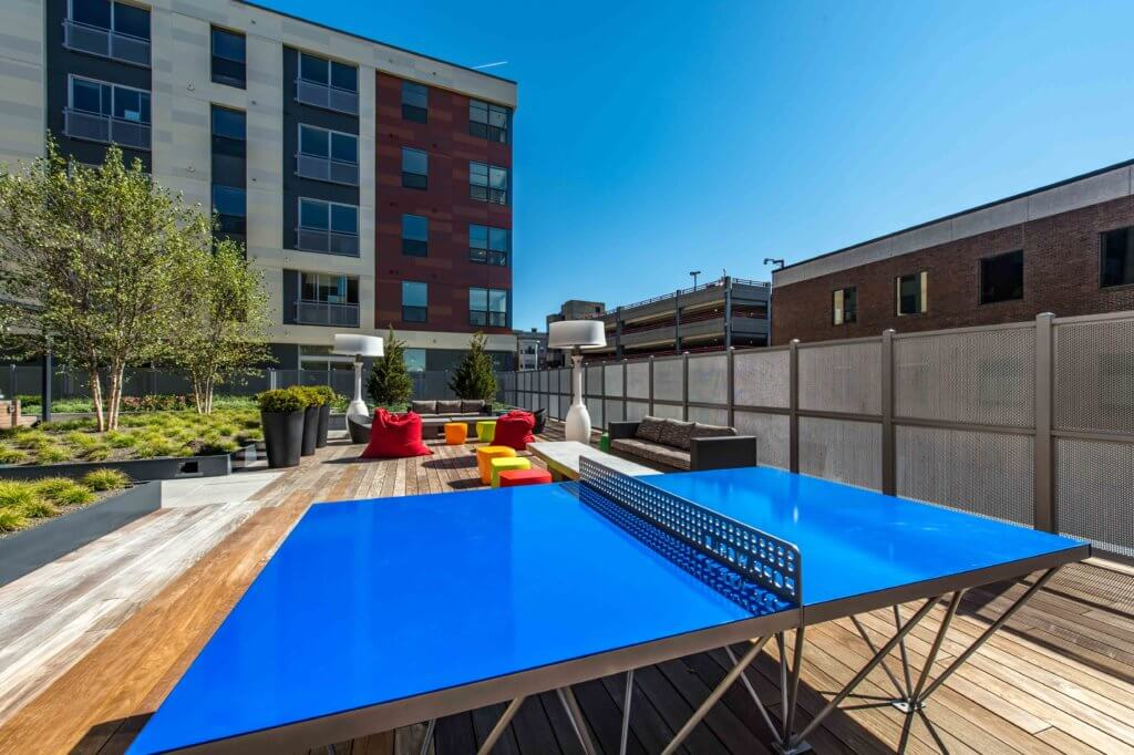 Ping Pong, Outdoor Space, Deck Life, Lounge, Bean Bags, J Malden Center, Sunshine, Blue Ping Pong, Malden Rental