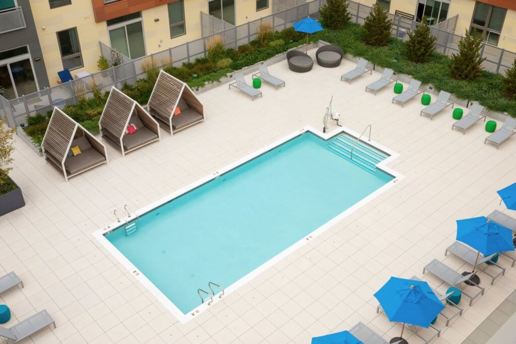 Pool, Inground Pool, Cabana, Umbrella, Chaise Lounge, Pool Party, Resort Pool, Amenity, J Malden Center, Malden MA, MBTA, Orange Line