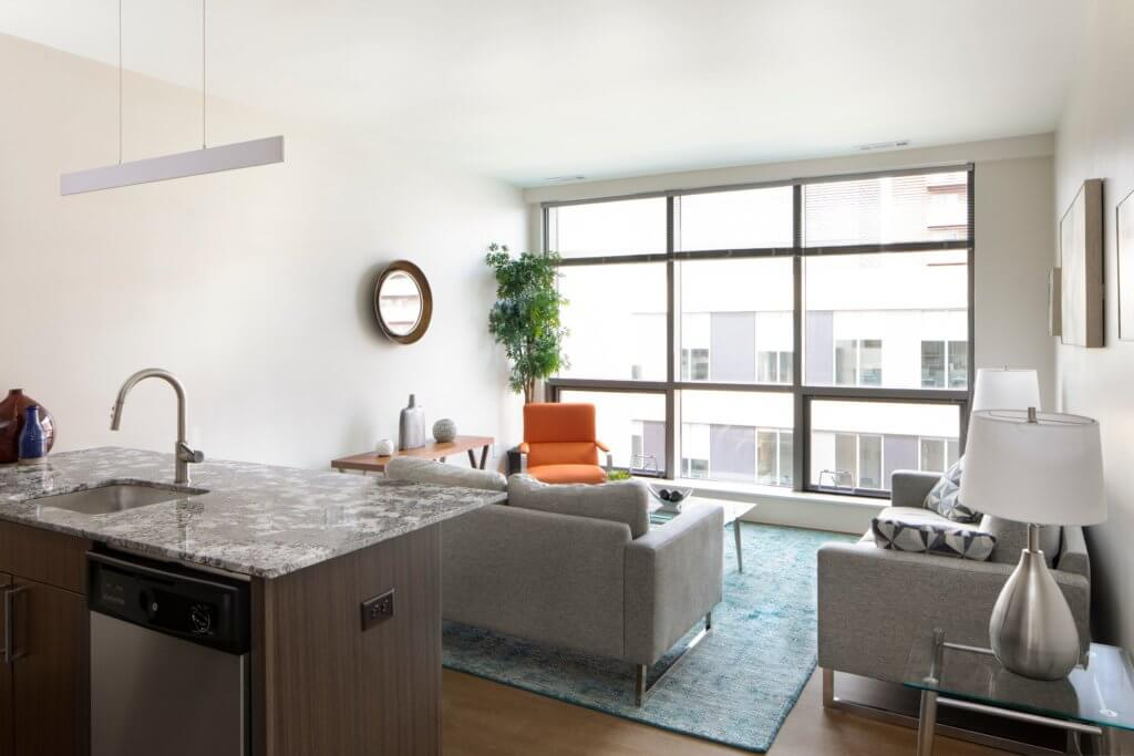 Living Room, Open Concept, Luxury Rental, Rental, Apartment, J Malden Center, Malden, Granite Counters