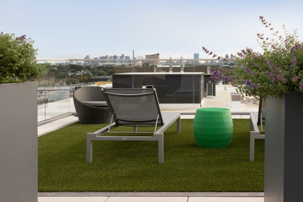 Roof Deck, City Views, Boston Skyline, Grass, Lounge Chair, J Malden Center, J Malden, Kristin Gennetti, Green Hassock