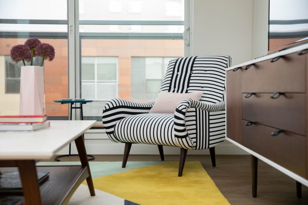 Modern Furniture, Striped Chair, Modern, Minimal, Floor to Ceiling Windows, Fresh Air, J Malden Center, Living Room,
