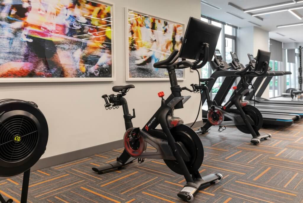 Peloton, Fitness Center, Fitness Lawn, Treadmill, J Malden Center, Malden MA, Carpeting, Artwork, Amenity, Downtown Malden, Rental